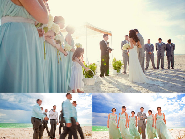 Wedding party and ceremony