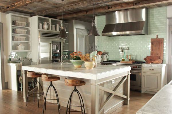 rustic turquoise white and wood kitchen