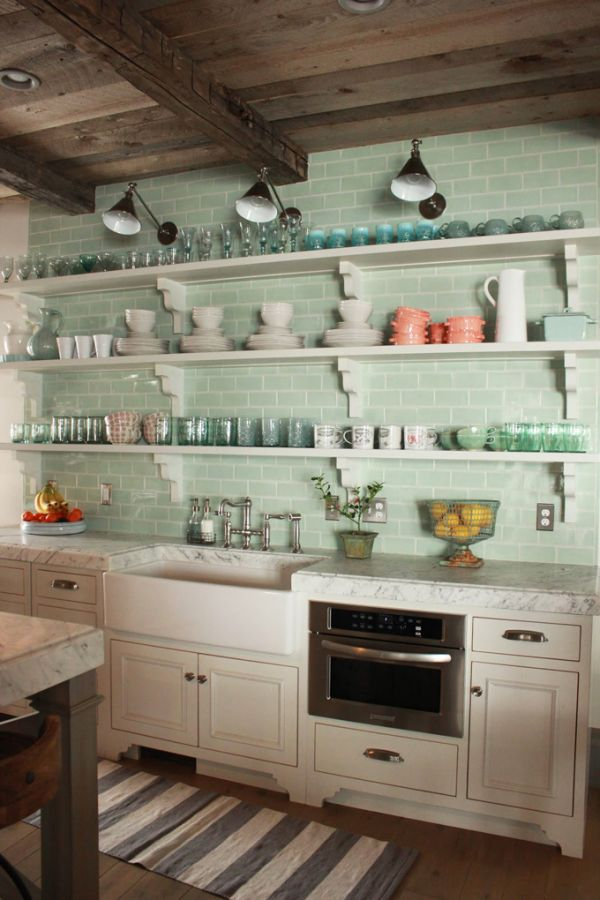 turquoise subway tiles in the kitchen