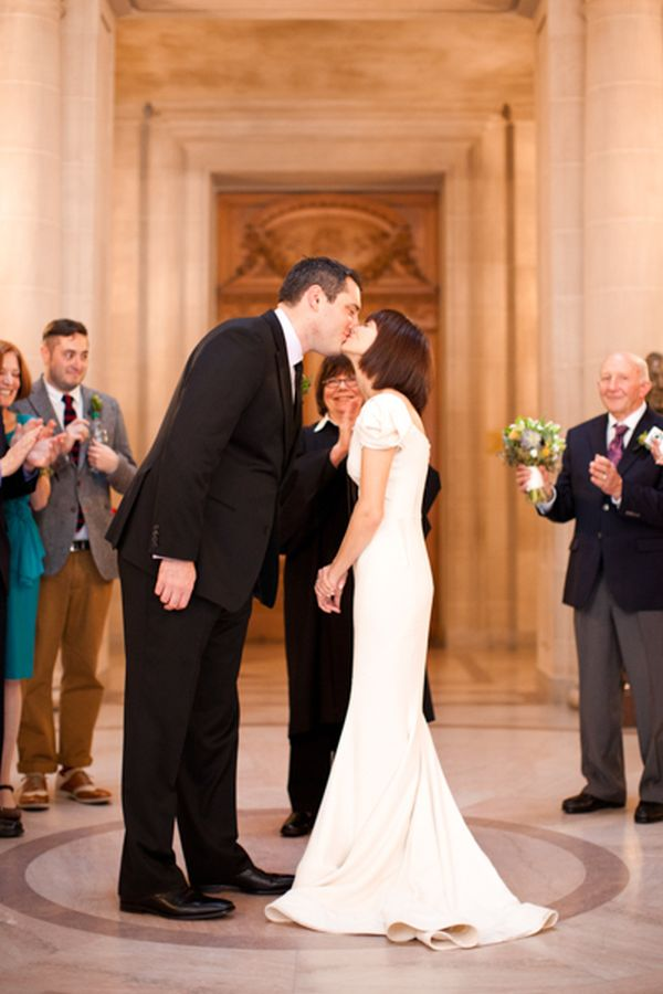 Intimate san francisco city hall wedding inspired by this for City hall wedding dresses nyc