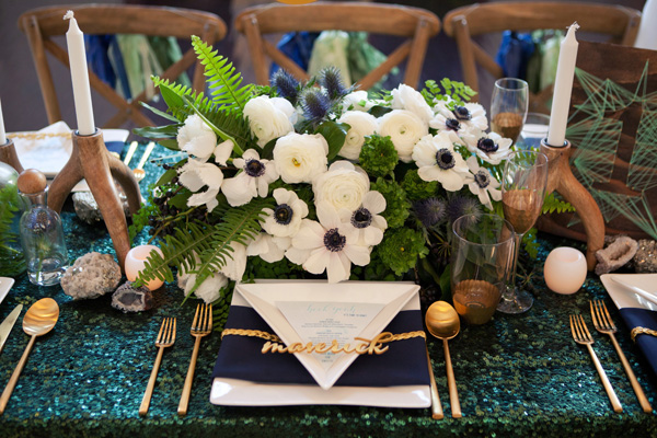 The Cream Event Los Angeles, green sequin linens, wood chairs, jl designs, jesi haack