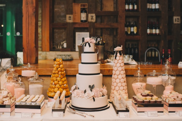 Inspired by This Black and White Modern Loft Wedding by Mango Studios - dessert table