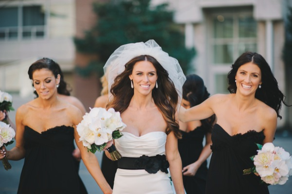 Inspired by This Black and White Modern Loft Wedding by Mango Studios - bride and her bridesmaids