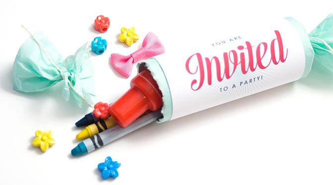 Confetti Popper Kids Party Invites DIY