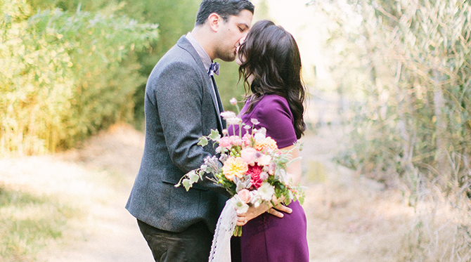 Chic Purple Santa Barbara Engagement Session