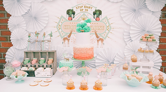 Vintage Peach & Mint Circus Birthday Party