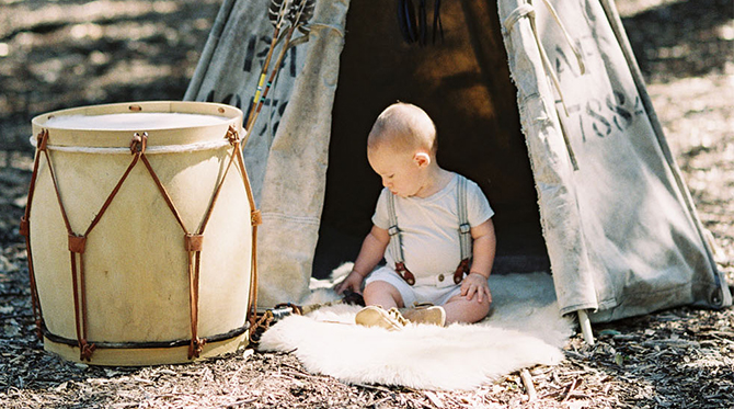 Mother & Son in a Teepee
