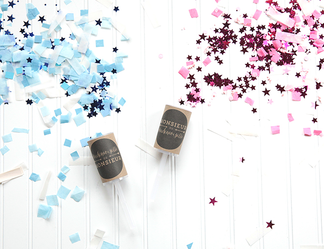 DIY Gender Reveal Confetti Poppers