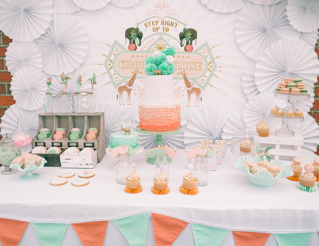 Vintage Peach Amp Mint Circus Birthday Party Inspired By This