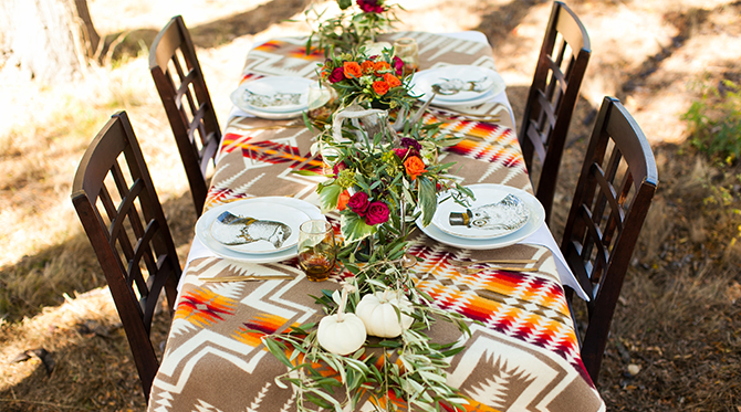 Woodland Fall Harvest Dinner party