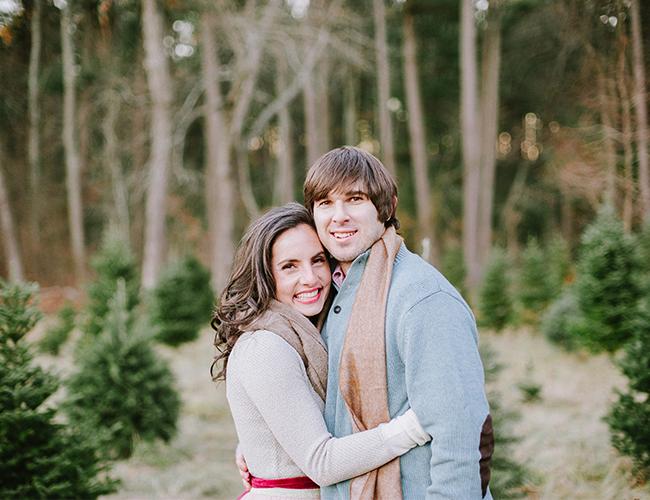 Cozy Christmas Tree Anniversary Shoot