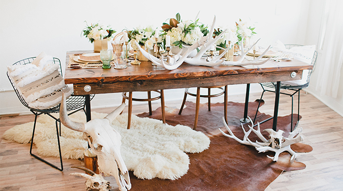 Gilded Bohemian Christmas Dinner Table