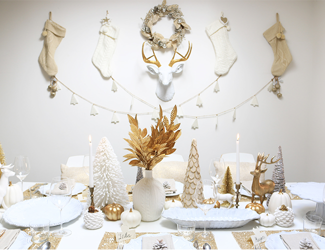 White And Gold Holiday Luncheon Party