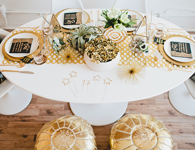 White and Gold New Year's Eve Table