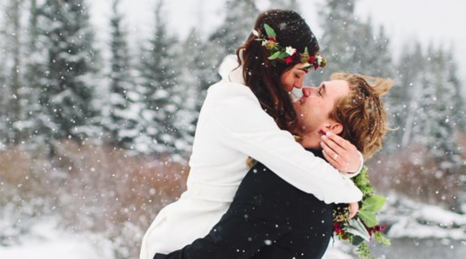 Snowy Cabin Winter Wedding
