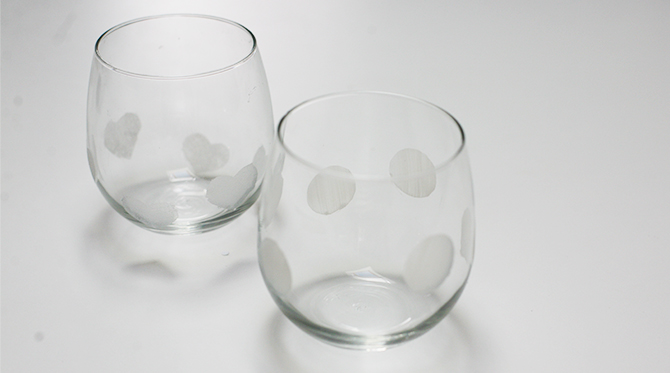 DIY Heart Etched Wine Glasses