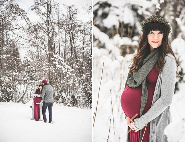 Winter Woodland Maternity Photos