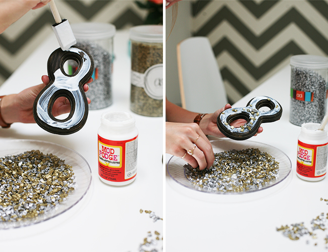 DIY Table Numbers with Crushed Glass