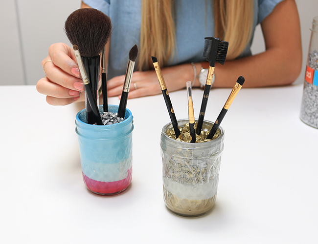 DIY: Mason Jar Makeup Brush Holders