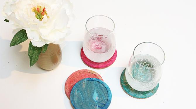 DIY Nail Polish Marbled Coasters