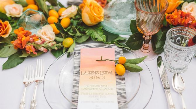 Ombre Tangerine Brunch Bridal Shower