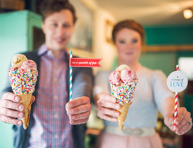 Ice Cream Parlor Engagement Photos
