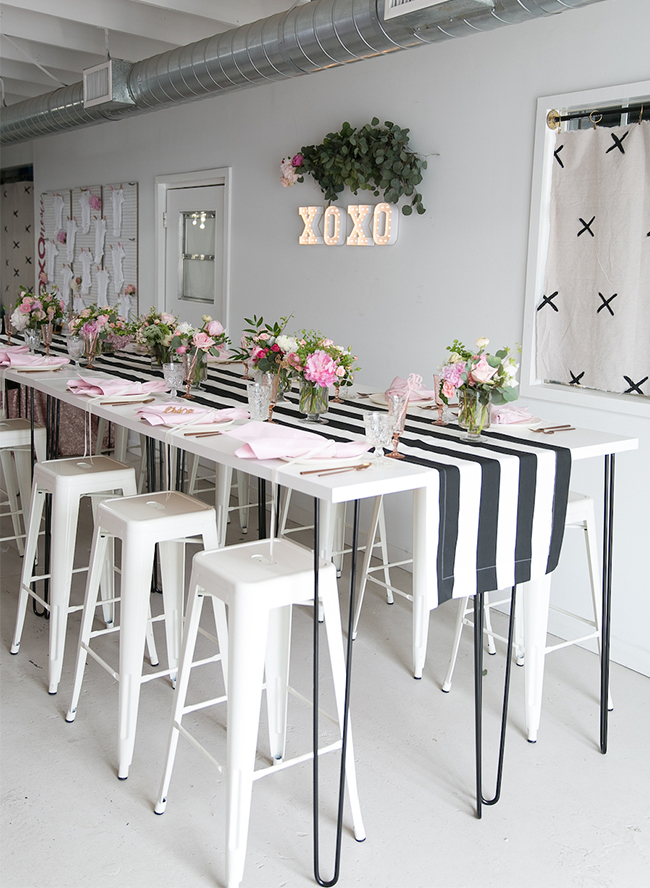Black, White, and PInk XOXO Baby Shower