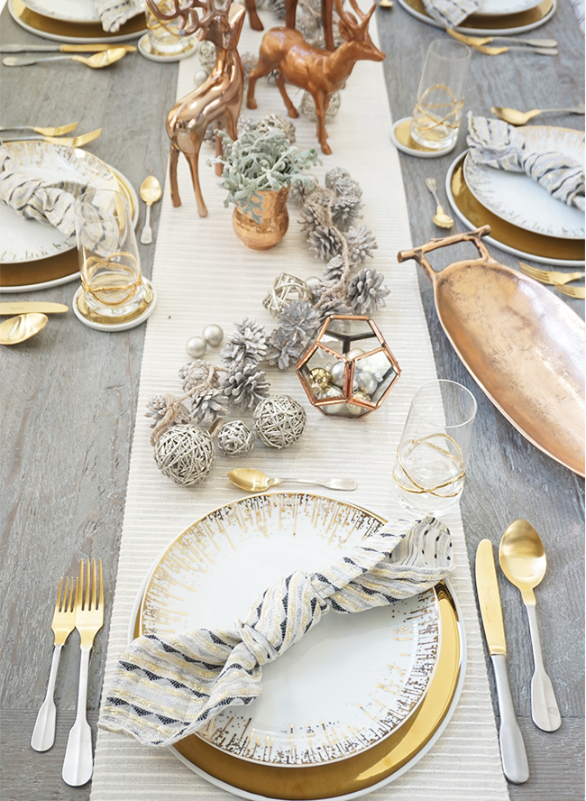 Mixed Metal Holiday Tablescape
