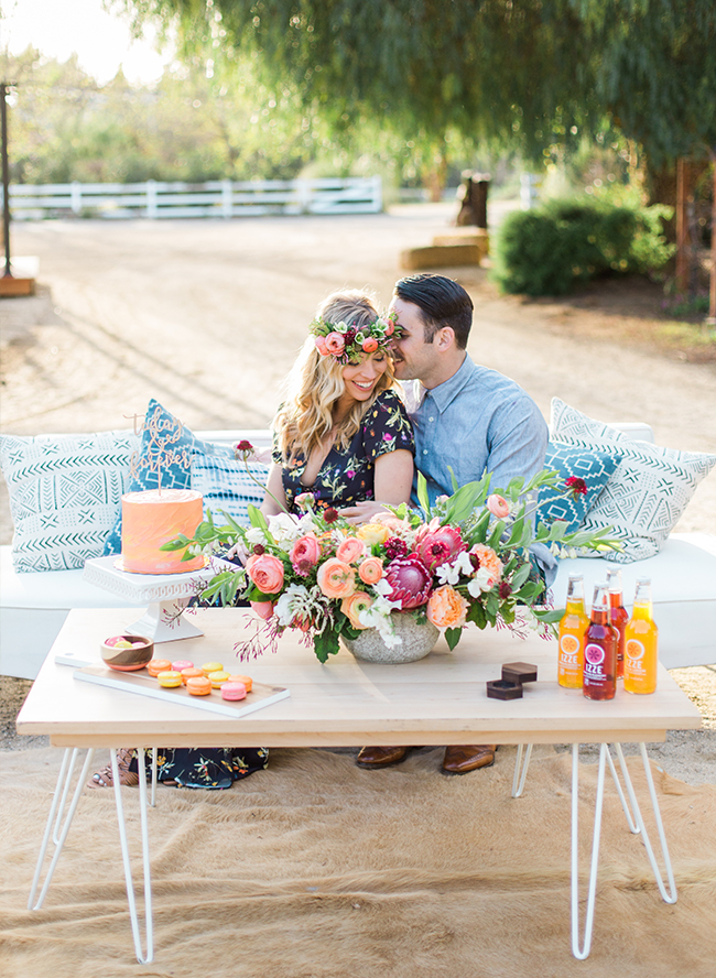 Colorful Mid-Century Modern Engagement Photos - Inspired by This