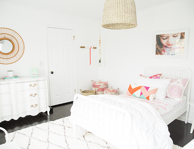 A Little Girl\'s Bright White & Pink Bedroom - Inspired By This