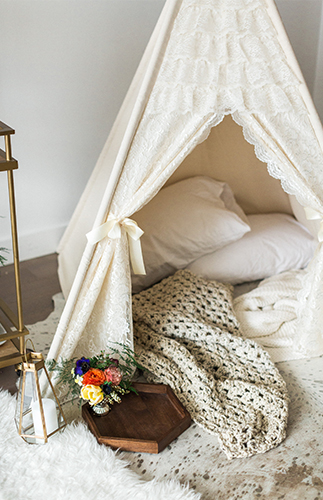 Cozy Glamping At Home Engagement Photos - Inspired by This