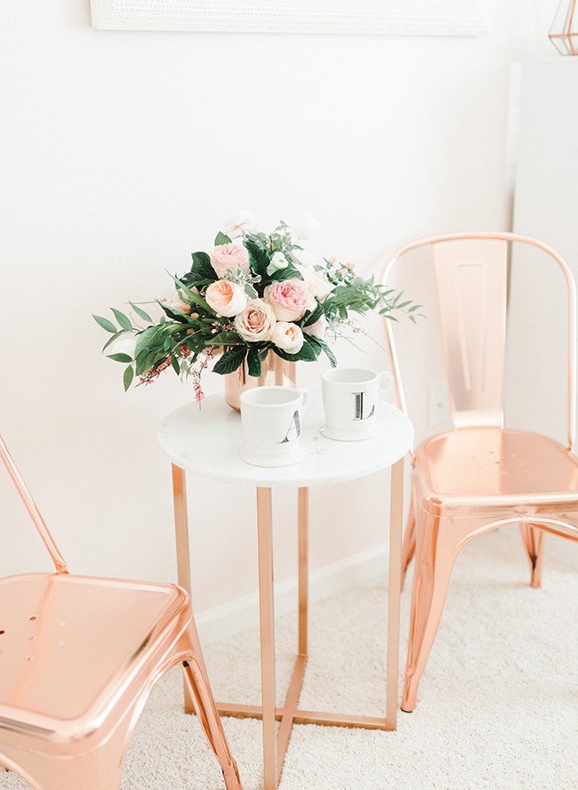 Ginger blooms girly rose gold office inspired by this for Room decor ideas rose gold