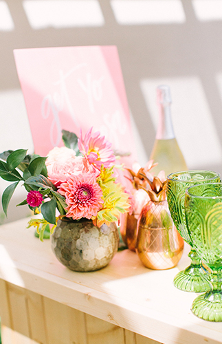 pink yellow tropical bridal shower inspired by