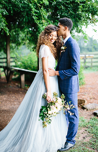 Beautiful Blue Peach Orchard Wedding Inspiration - Inspired by This