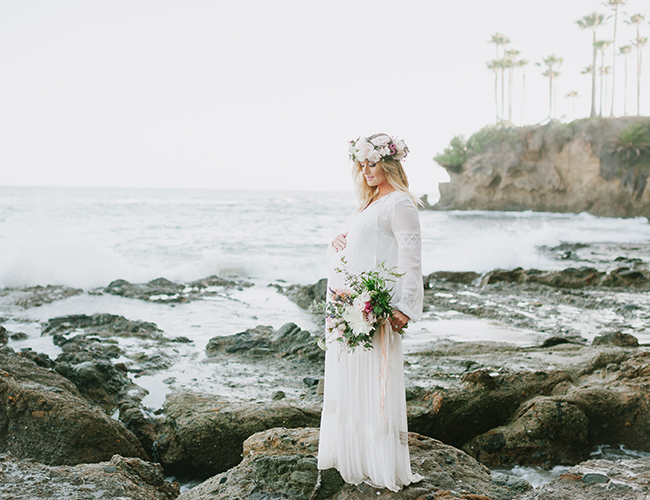 All White Maternity Photos on the Beach - Inspired by This