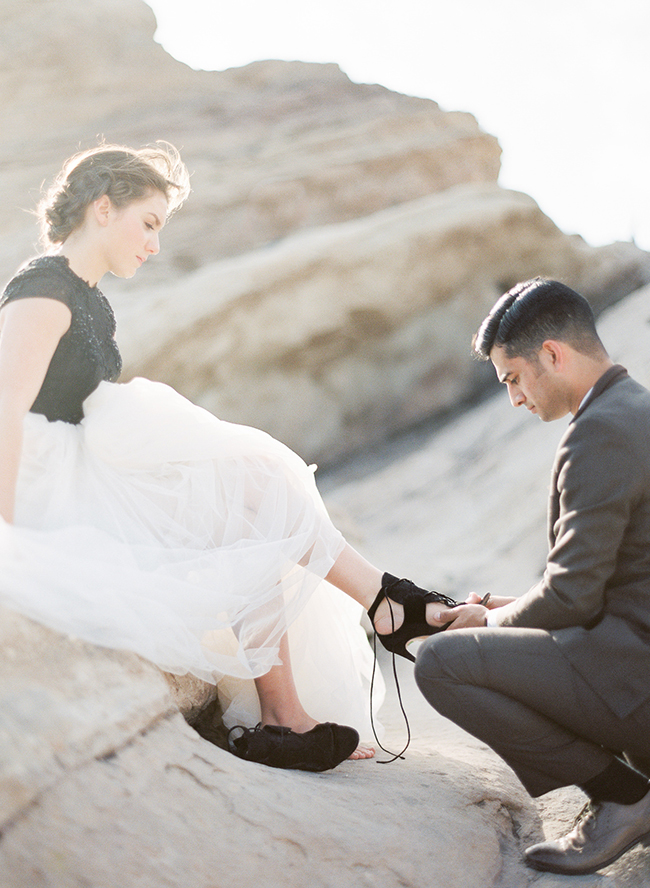 Romantic Black & White Desert Elopement - Inspired by This