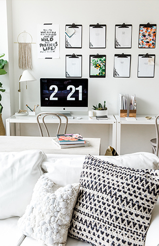 The Little Things Black and White Contemporary Office - Inspired by This