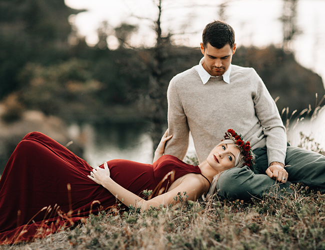Romantic Red Maternity Photos In Portland Inspired By This