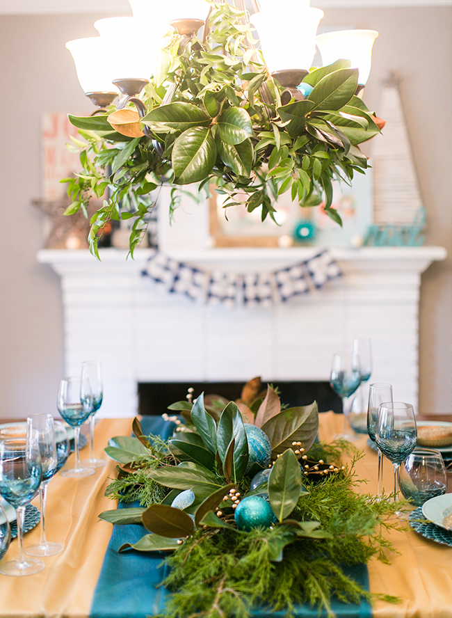 Christmas Dinner Party.Teal Coastal Christmas Dinner Party Inspired By This
