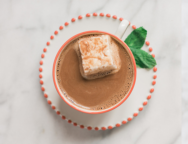 A Recipe for Peppermint Hot Cocoa with Mint Marshmallows - Inspired by This