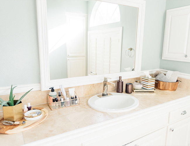 neutral metallic master bathroom makeover inspired by this
