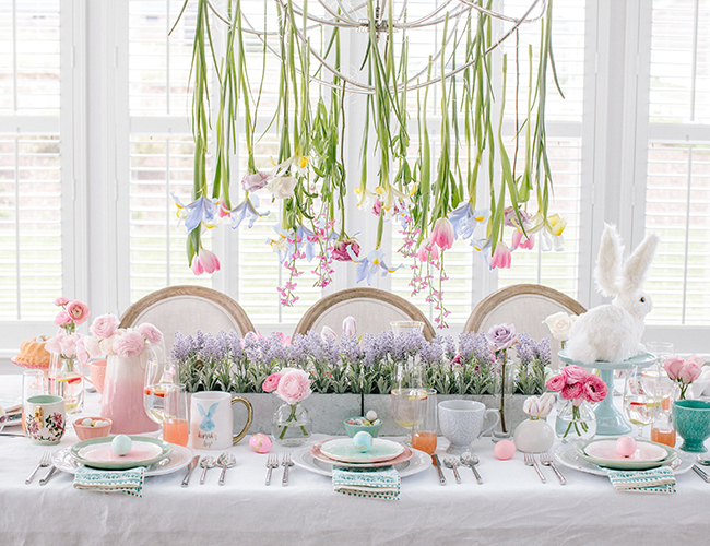 Itu0027s centered around cheerful and bright colors an abundance of Trader Joeu0027s flowers and hand painted eggs by Two-Delighted Calligraphy.  sc 1 st  Inspired By This & Setting a Whimsical Pastel Easter Brunch Table - Inspired By This