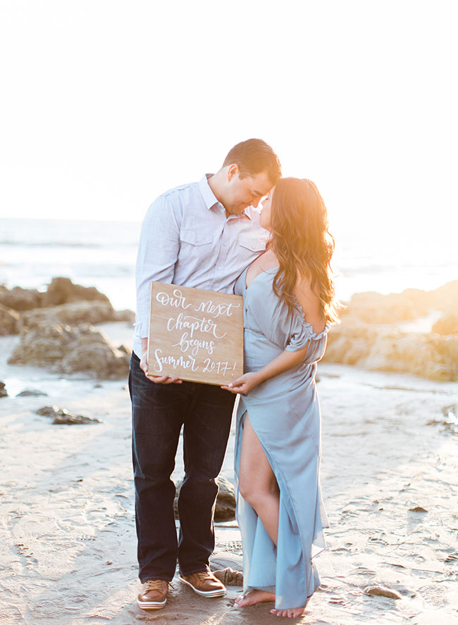 Beautiful Malibu Pregnancy Announcement Inspired By This