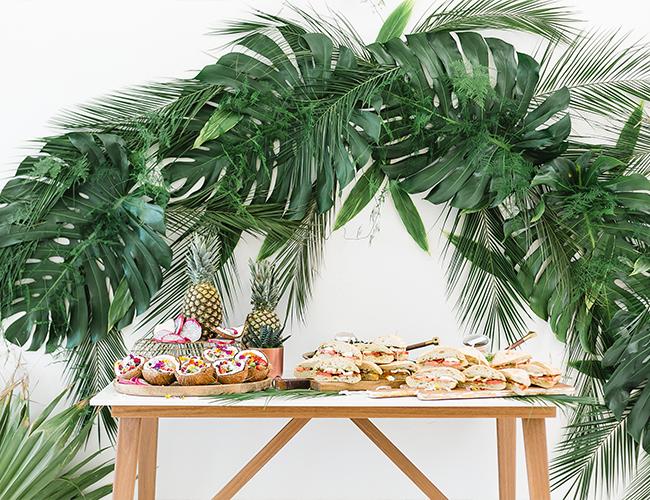 Papaya & Palm Leaves Tropical Baby Shower