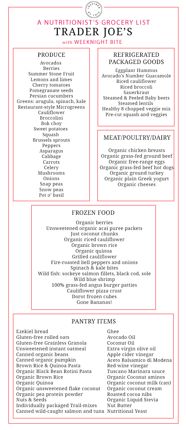 A Nutritionist S Grocery List To Trader Joe S Inspired