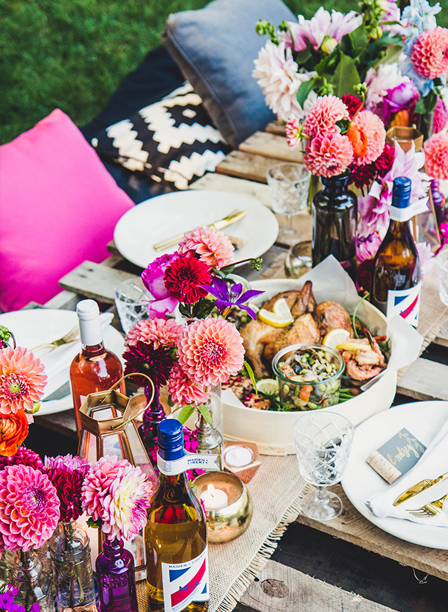 Colorful Backyard Dinner Party