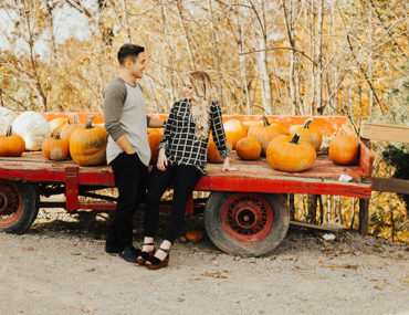 Pumpkin and Plaid Engagement Photos