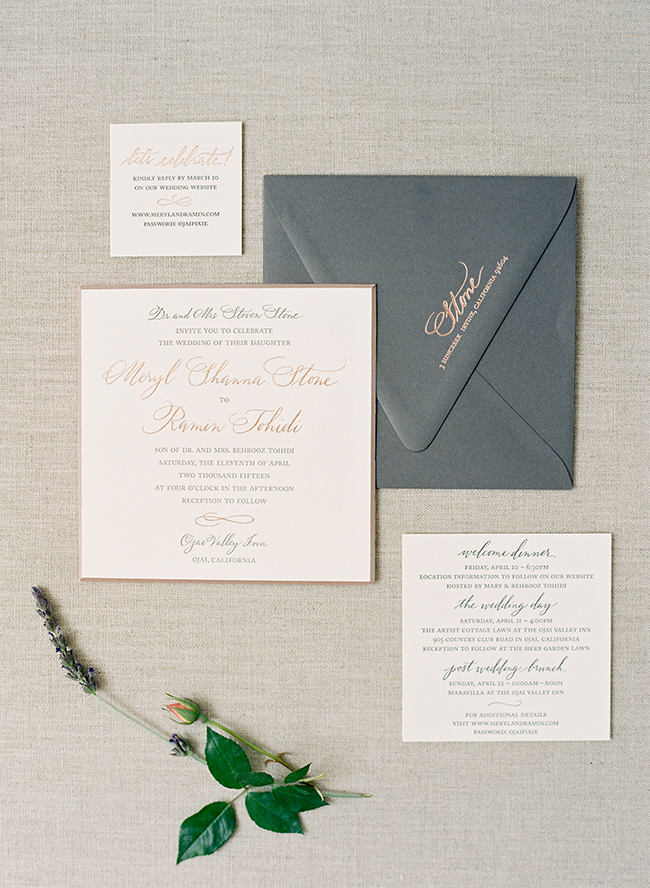metallic stationery suites