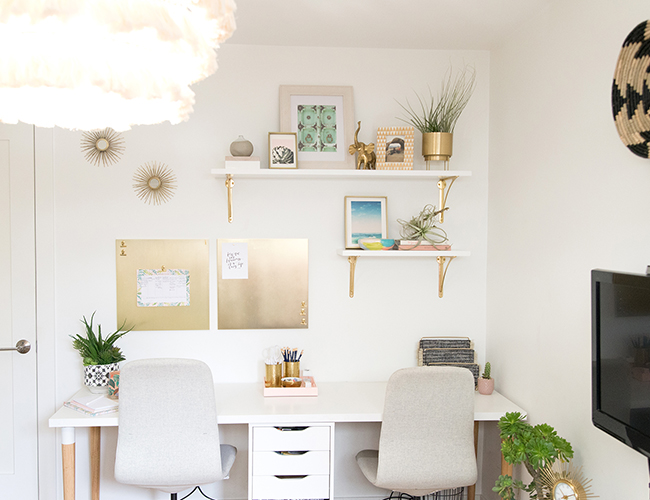 Airy Blush and Green Home Office