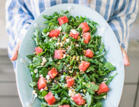Watermelon Mint and Arugula Salad